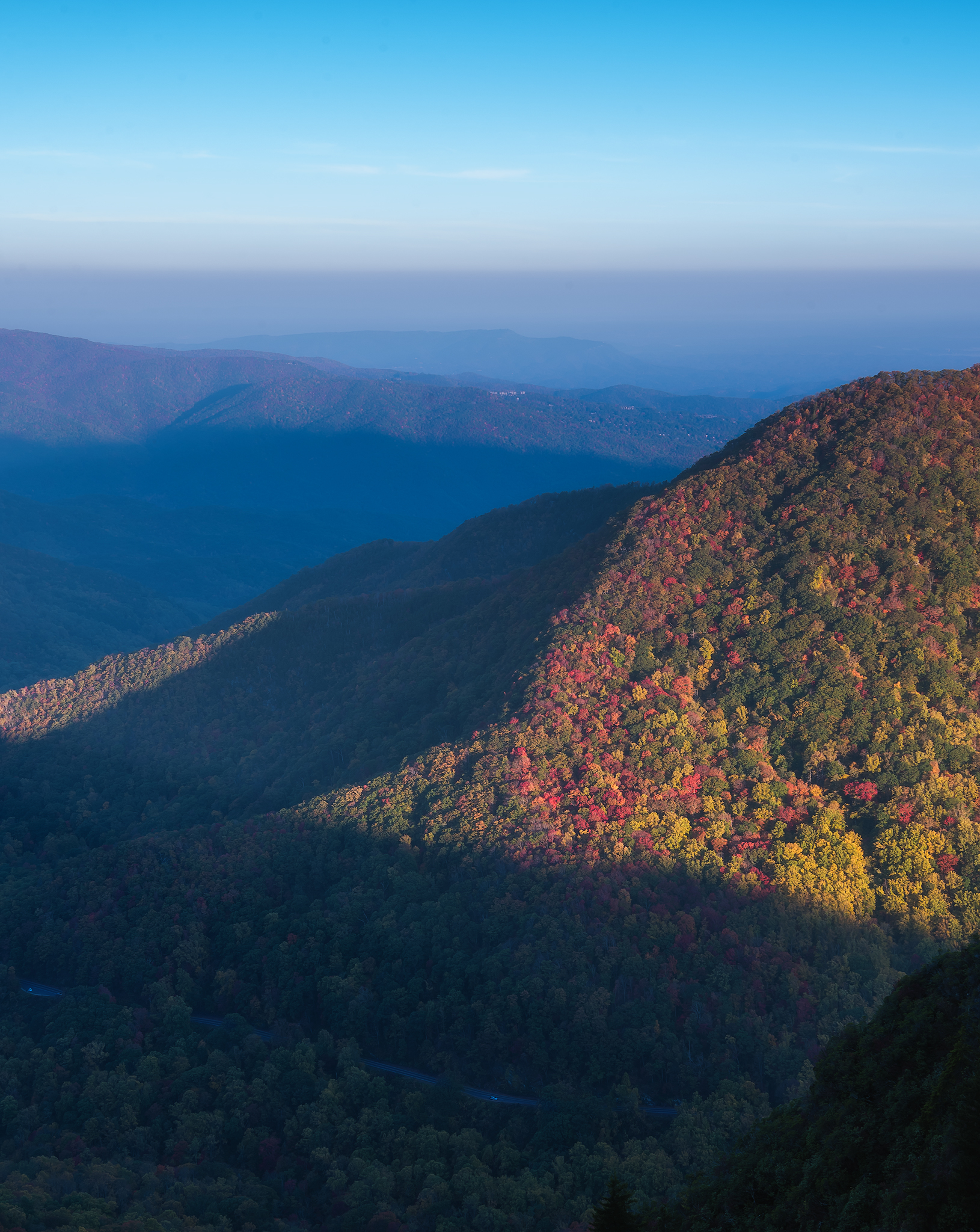 Fall in the Great Smoky Mountains from the summit of Chimney tops.