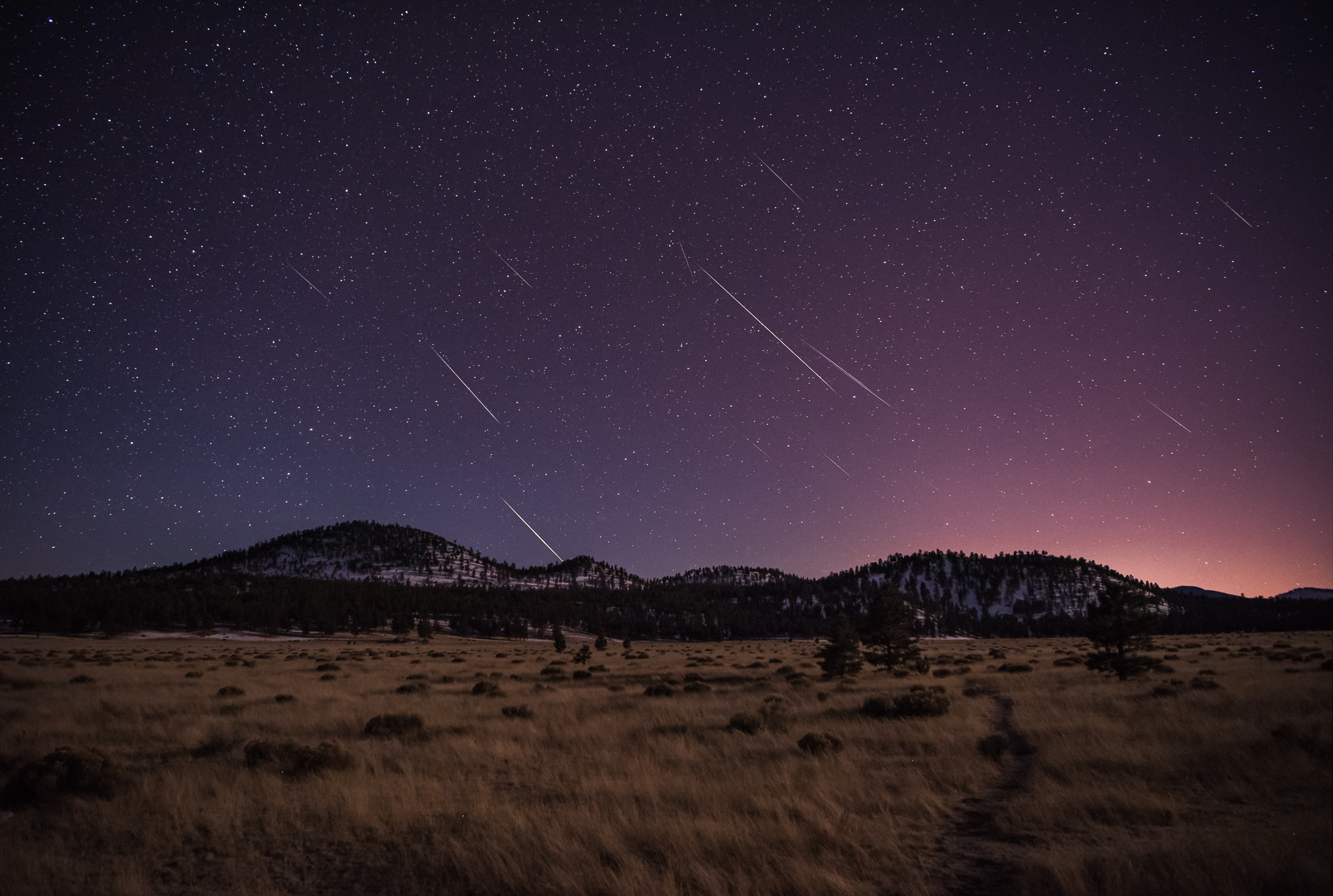 Geminid Meteor Shower - Sunset Crater Volcano National Monument, Arizona.